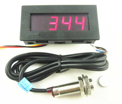 4 Digital Red LED Tachometer RPM Speed Meter+Proximity Switch Sensor NPN 3 Wires