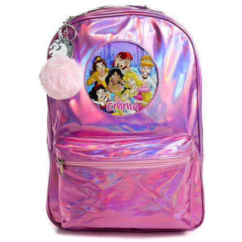 Bolsa De Princesa Niñas Mochila Escolar Bolsa Rosa Brillante Holográfico Personalizado PH04