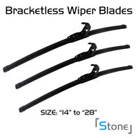 3pcs For Honda Crx 1988-1989 Bracketless Windshield Wiper Blades Wipers Black