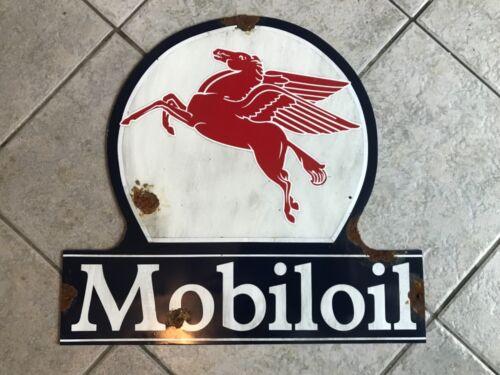 Antique style-barn find look Mobil Pegasus dealer lollipop oil gas station sign