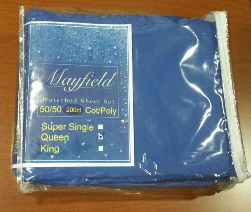 Queen Waterbed Sheet Set California Queen Poly//Cotton Royal Blue