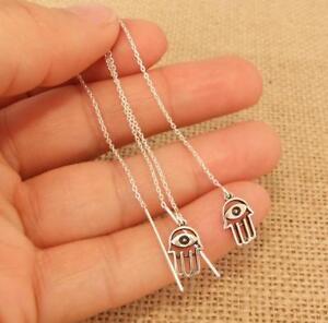 Long-Hamsa-Hand-925-Sterling-Silver-Pull-Through-Threader-Chain-Earrings