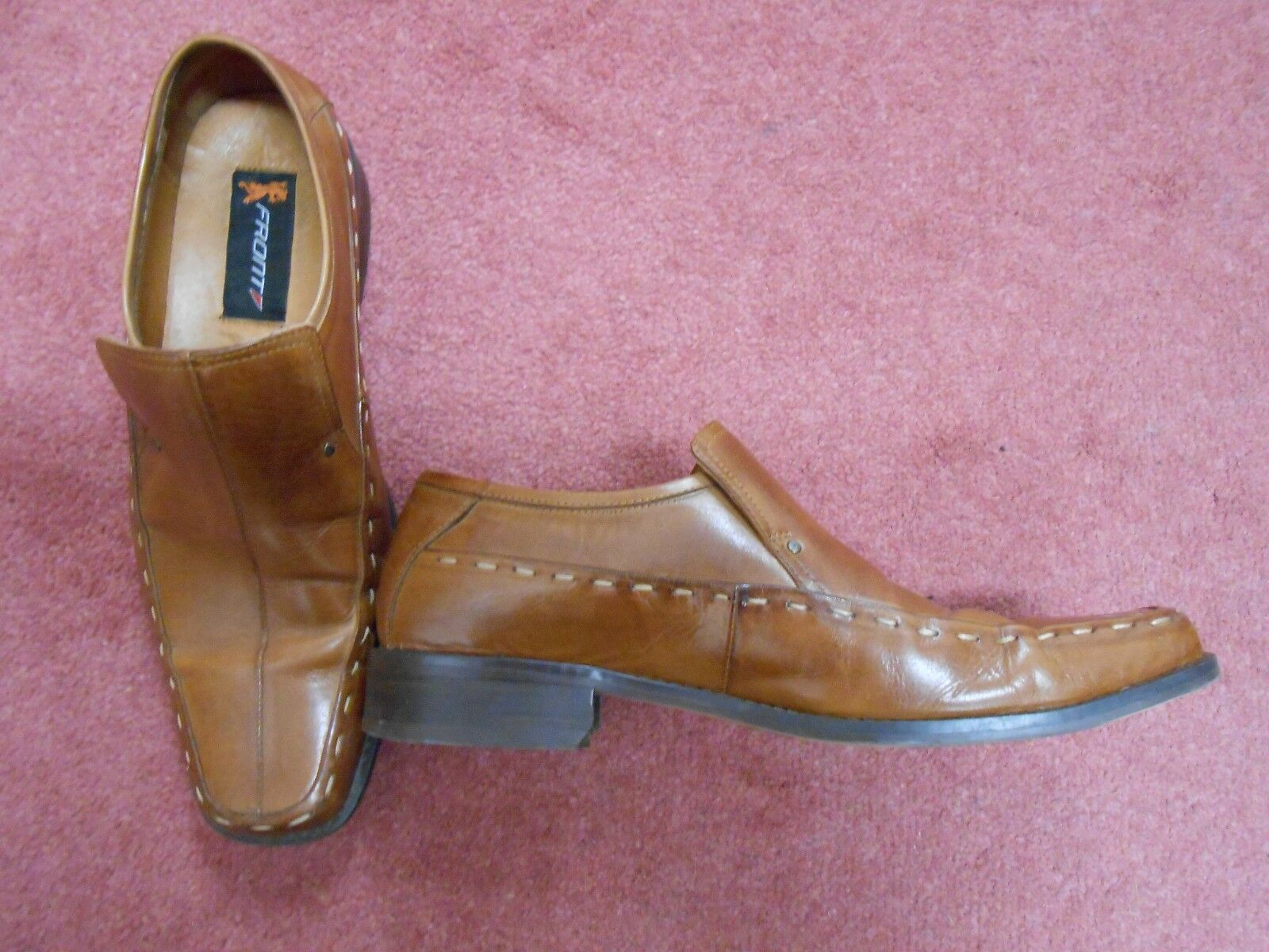 Men's Front Tan Brown Leather Formal Slip On shoes Size 7 (41)