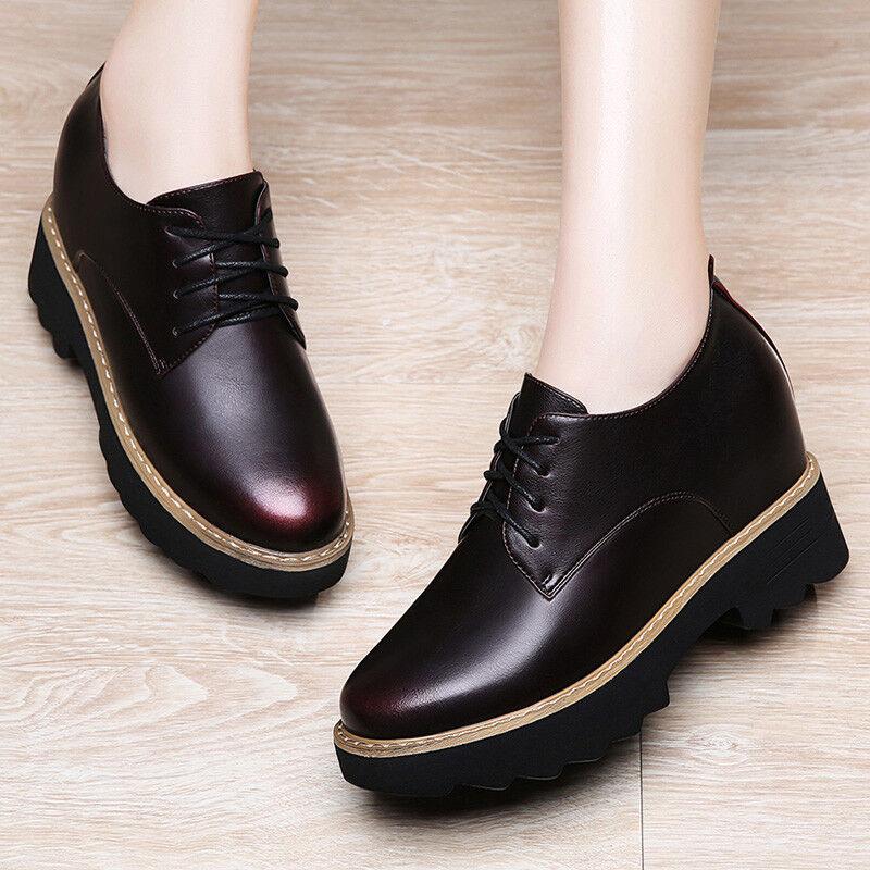 Girls Womens PU Leather 3 CM Hidden Height Platform Wedges  Boots Shoes Casual