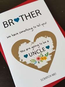 Details about Pregnancy announcement card for uncle brother mum dad bun in  the oven PA57