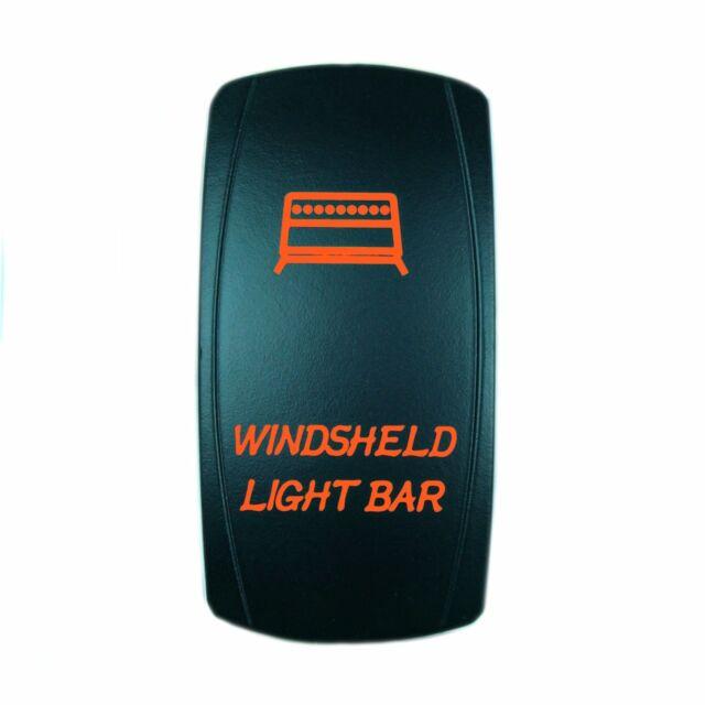 LASER ETCHED 12V LED BACK LIT ROCKER SWITCH RED Windshield Light Bar RZR Can Am