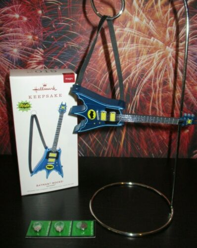 Hallmark Magic Sound Ornament Batman Rocks Bat Guitar w// Strap TV Theme Song