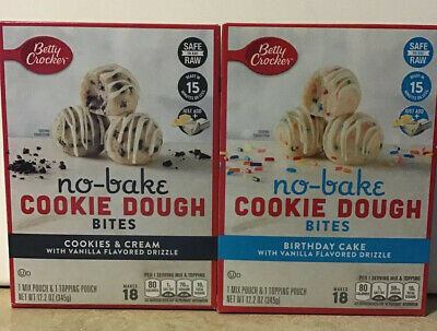 Marvelous 2 Boxes Betty Crocker No Bake Cookie Dough Bites Birthday Cake Funny Birthday Cards Online Elaedamsfinfo