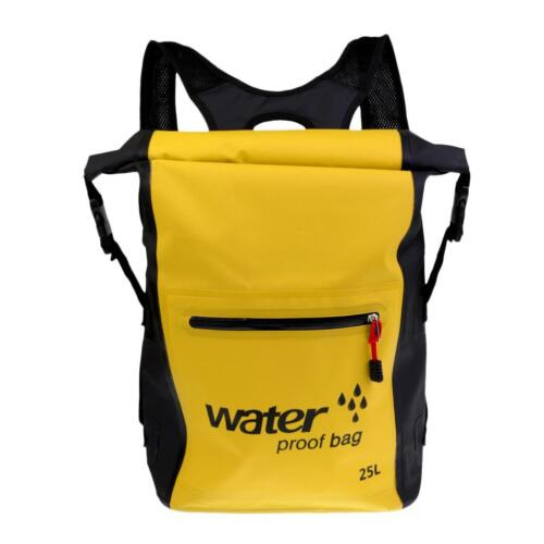 Yellow 25L Waterproof Backpack Dry Bag for Boating Canoeing Surfing Sailing