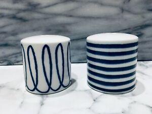 Kate Spade Charlotte Street Salt Pepper Shaker Set Navy Blue White Brand New Ebay
