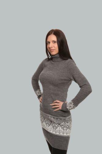 100/% Wolle Gr Exklusives Langarm Rollkragen Strickkleid XS-L von Natural Style