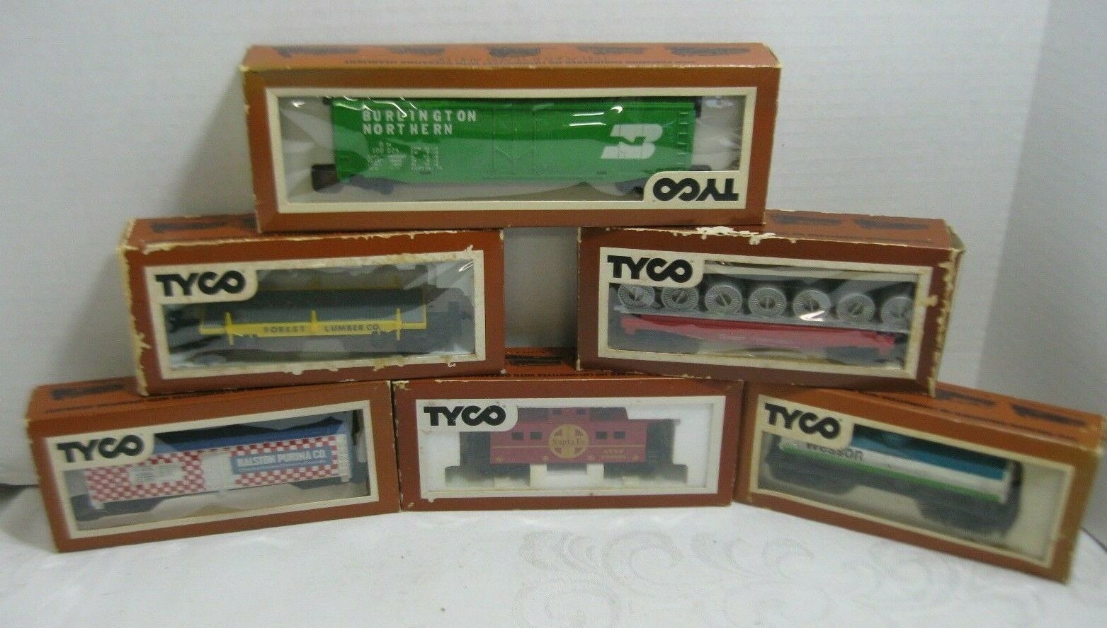 Tyco Ho Scale tren de Cochega coches Purina Wesson Great Northern Santa Fe Lote de 6