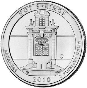 2010-D-Hot-Springs-Arkansas-America-the-Beautiful-BU-Quarter-from-U-S-Mint-Roll