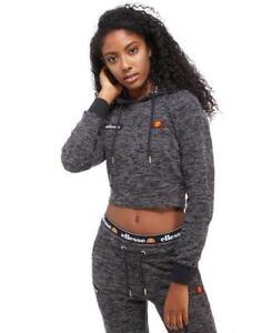 08eb663a6b Details about Ellesse Women's Hoodie Crop Knit Hoody Black Marl