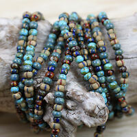 Exclusive 6/0 Aged Striped Turquoise Ridge Picasso Mix Czech Seed Beads - 30g