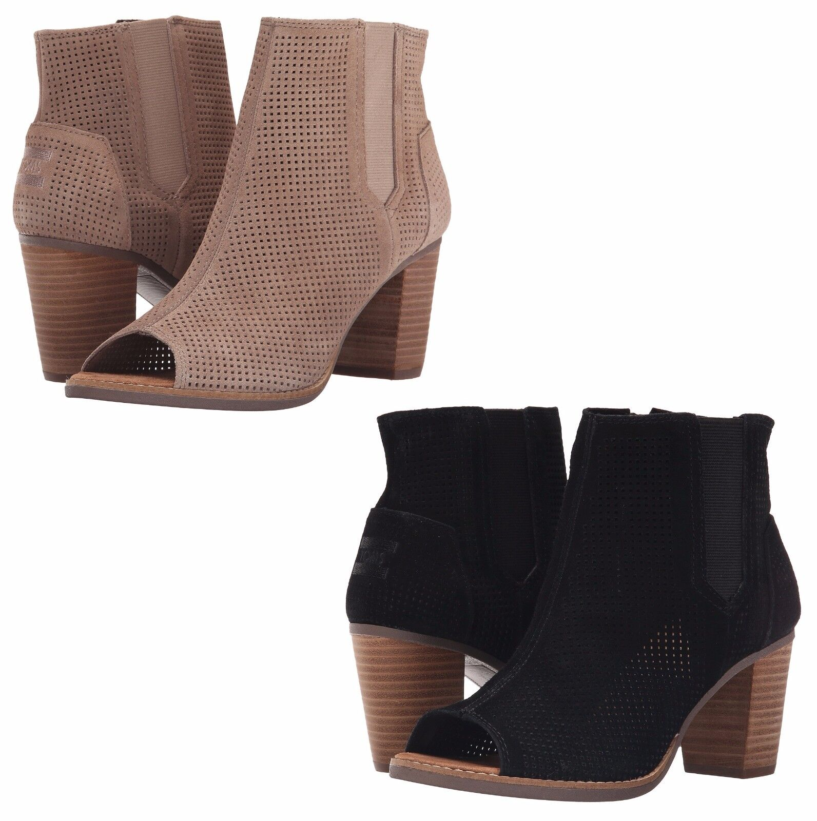 b09f9a2cc24 Toms Majorca PEEP Toe BOOTIES Stucco Suede Perforated 9.5 for sale ...
