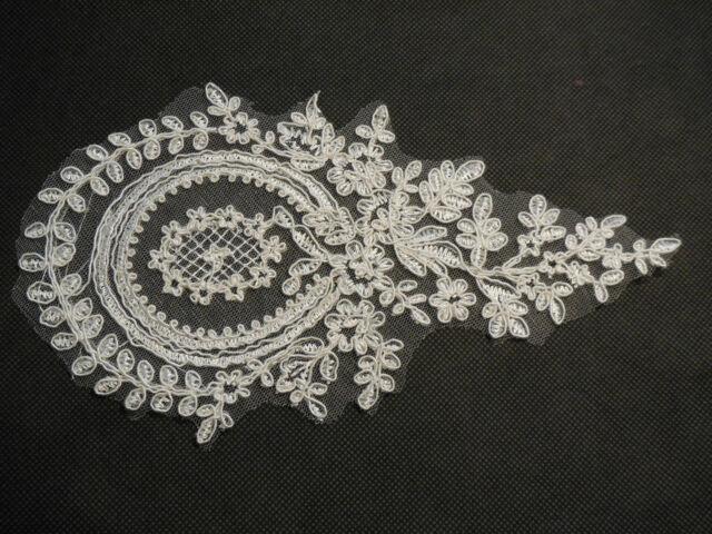 Ivory bridal wedding lace Applique/ floral lace motif 12x21.7cm sold by per pcs