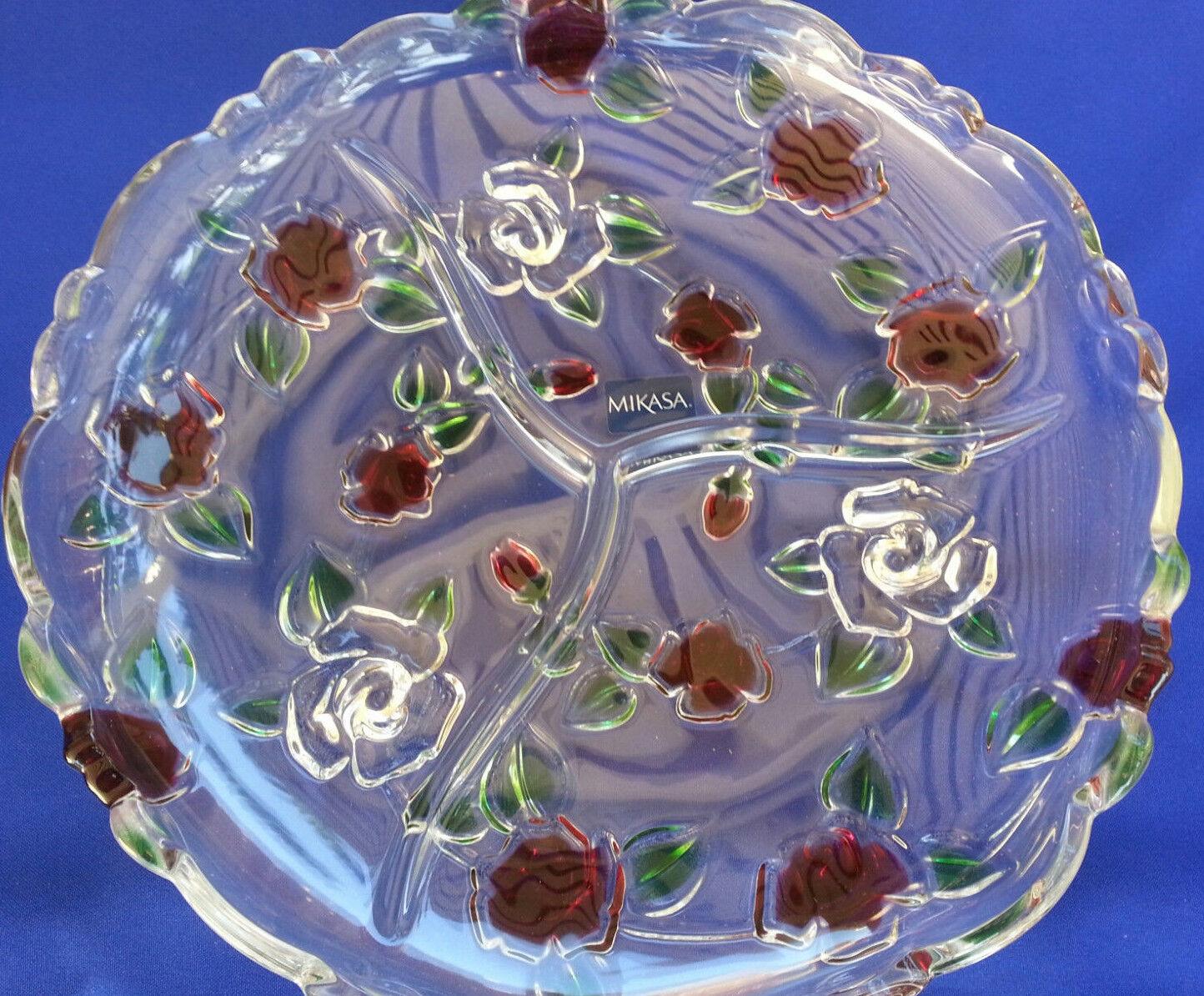 Plateau Relish MIKASA CELEBRATIONS ROSE GARDEN cristal divisé 10  New Free Ship