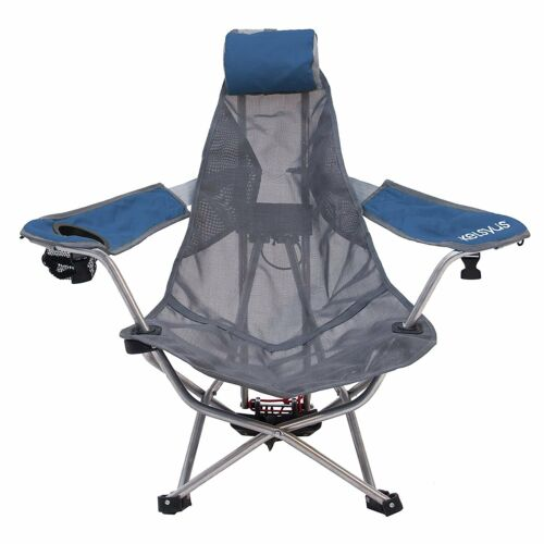 Kelsyus Mesh Folding Backpack Beach Chair with Headrest Blue and Gray80403