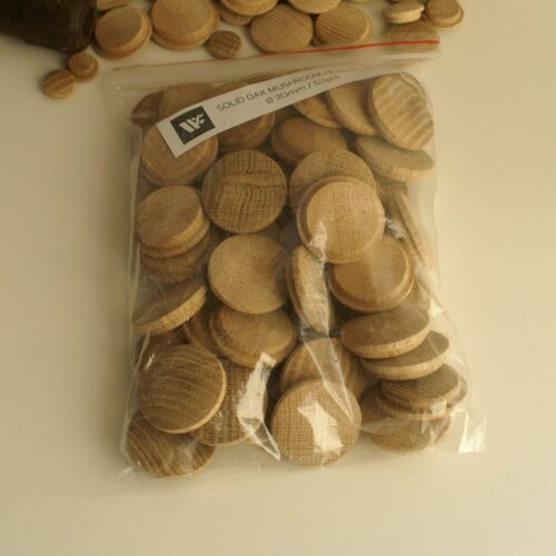 XX Large Solid Oak Mushroom Head Plugs 40mm Diameter Hole Wood Buttons MH40