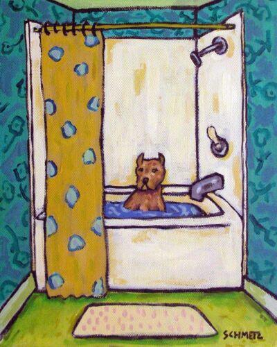 PIT BULL terrier dog art  4x6  bather gift BATHROOM pop art folk  GLOSSY PRINT