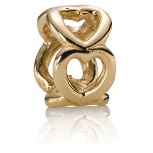 *(2) Two Pandora 14kt Open Heart Spacer Charms #750454-Retired
