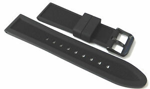 Premium-Reversible-Black-Silicone-Rubber-watch-strap-PVD-Buckle-18-24mm