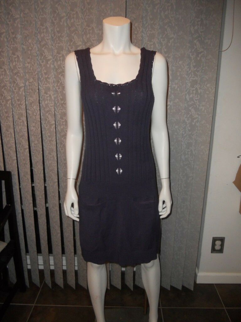 See By Chloe Ribbed Knitted Sleeveless Cotton Sweater Dress lila 40 IT   4 US