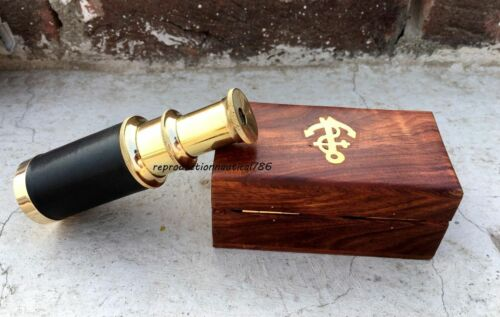 Handmade Shiny Brass Black Leather Telescope With Wooden Box
