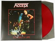 UDO DIRKSCHNEIDER ACCEPT SIGNED STAYING A LIFE RED VINYL LP RECORD ALBUM  + COA
