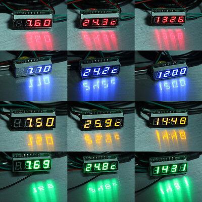 """0.28"""" 33V 200V Digital DC Volt Meter LED Time clock /Temperature/Voltage"""