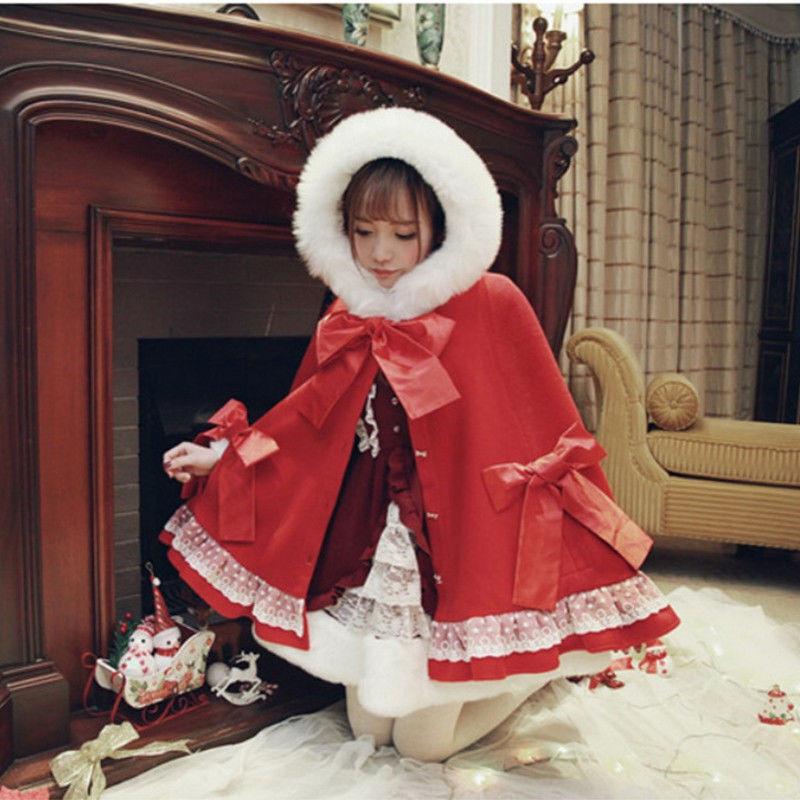 Japanese Girl Princess Sweet Lolita Bowknot Winter Wool Hoodie Coat Cloak Zsell
