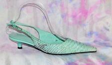 LK BENNETT Unusual Leather Shoes 37 Lime Green Low Formal Fish Scale *Clean