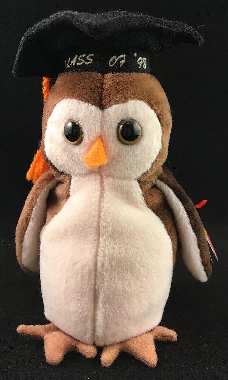 Zeldzame jaar 1997 TY Beanie peuters Wise Owl met 6 ERRORS MINT VOORWAARDEN