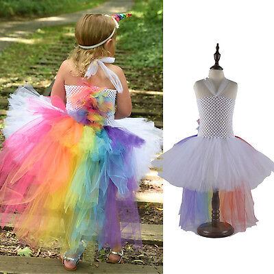 Einhorn Kinder Baby Mädchen Langarm Prinzessin Tüll Tunika Kleid Party Kostüm