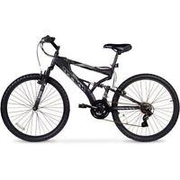 Men's Mountain Bike Black Aluminum Frame Shimano 26 Full Suspension 21 Speed