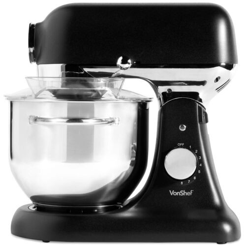 VonShef 1200W Electric Food Stand Mixer 8 Speed Setting Beater Dough Hook Whisk