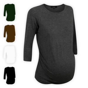 Womens-Ladies-Crew-Neck-Cotton-Maternity-Top-3-4-Sleeve-Casual-T-Shirt-Blouse