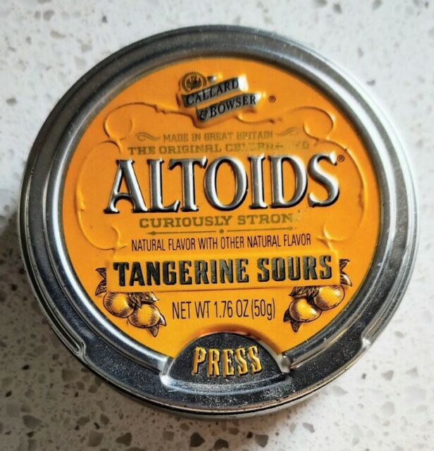 Vntg Altoids Tangerine Sours Embossed Metal Collectors Candy Tin ~ Discontinued