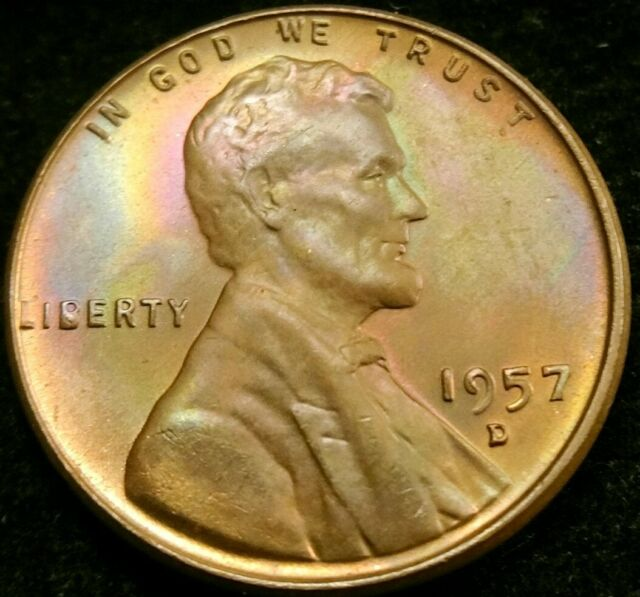 1957 D Rainbow Toned Bu Uncirculated Lincoln Cent Wheat Penny For