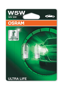 Osram-W5W-501-Ultra-Life-Sidelight-Wedge-Bulbs-W2-1x9-5d-2825ULT-02B-Twin-Pack