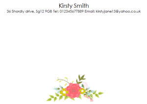 PERSONALISED A6 CORRESPONDENCE NOTECARDS CARDS CARD BUSINESS ADDRESS SNOW WHITE