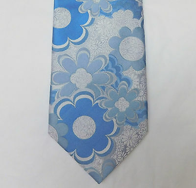 White and blue floral tie Woven silk Tie Rack Flower power wedding romantic