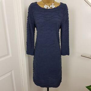 Phase-Eight-Dress-Midi-Stretch-Boat-Neck-3-4-Sleeves-Wool-Blue-Size-UK-12