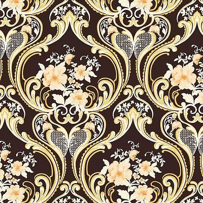 Vinyl Tapete Barock Retro # braun/gold/weiß # Fujia Decoration # 68626