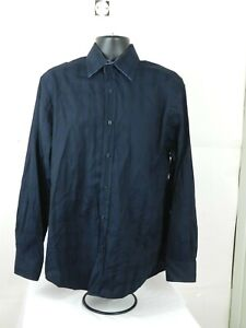 Bugatchi-Uomo-Mens-Shaped-Fit-Flip-Cuff-Button-Down-Dress-Shirt-Navy-Blue-XL