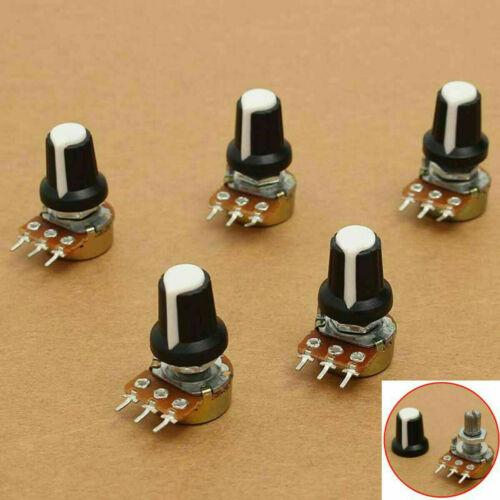 5X//set 10K OHM Terminal Linear Taper Rotary 15mm Resistor Potentiometer /& Knobs
