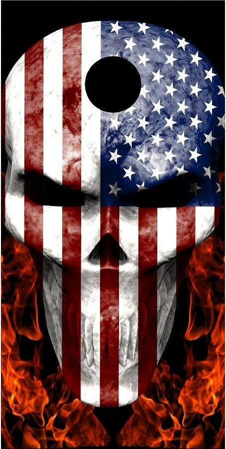 American flag skull fire flame Cornhole game decal wrap