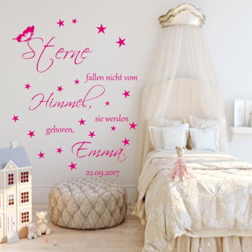 Wandtattoo AA164 Kinderzimmer Namen Sterne fallen nicht vom Himmel Spruch Baby