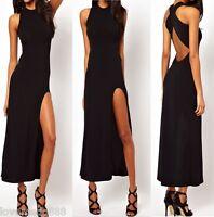 Club Party Strap Cross Open Back Thigh high split Maxi Long Dresses BLACK Small